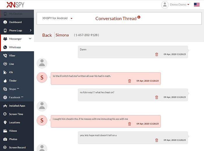 Whatsapp conversation thread as seen in xnspy