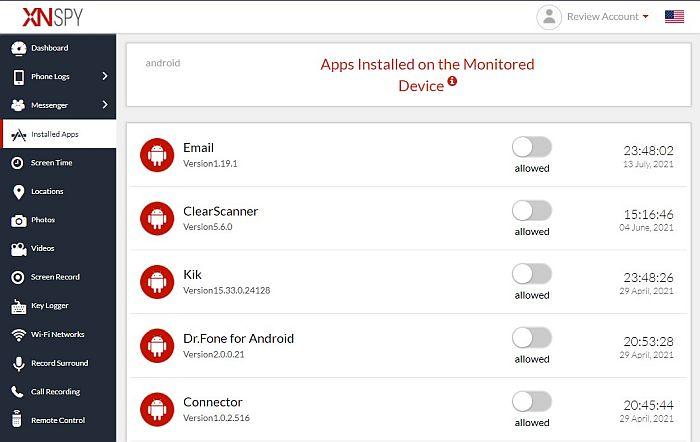 Xnspy installed apps monitoring tab