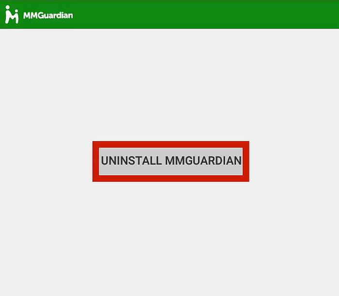 Mmguardian new window with the uninstall mmguardian button highlighted
