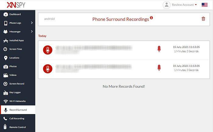 Xnspy phone surrround recordings feature