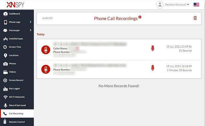 Xnspy call recording  tab