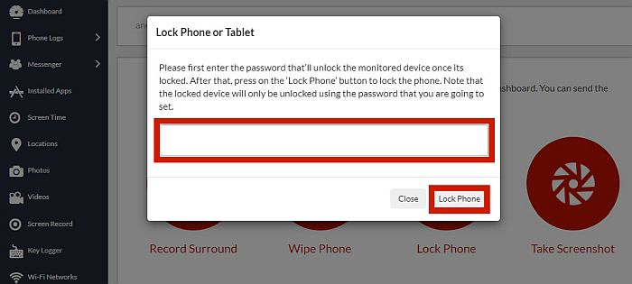 Xnspy lock phone or tablet feature with the password field and lock phone button highlighted