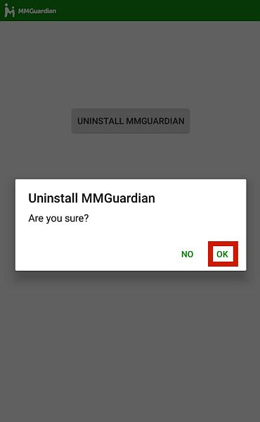 Uninstall mmguardian confirmation with the ok option highlighted