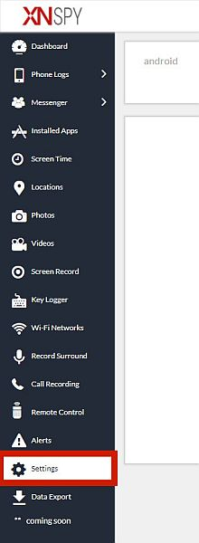 Xnspy sidebar menu with the settings tab highlighted