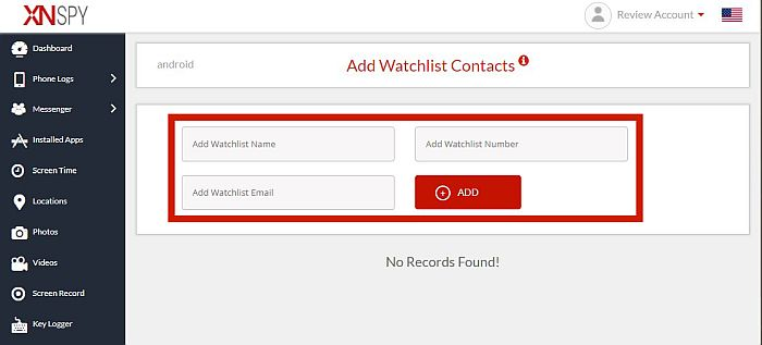 Xnspy add watchlist contacts  with the Watchlist information entry field highlighted