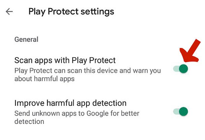 Play Protect settings tab with  Scan apps with Play Protect toggle pointed out