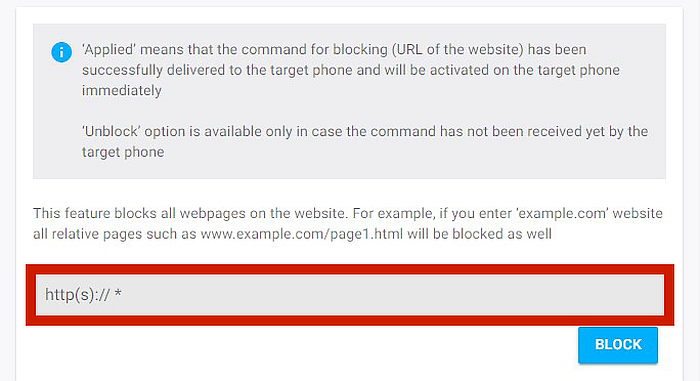 bottom part of Block Websites window with the url bar highlighted