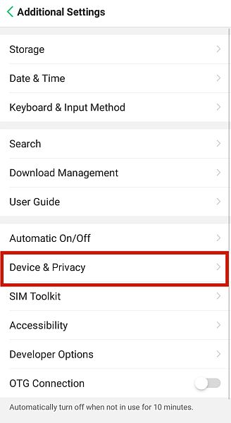 Android Additional Settings with the Device & Privacy option highlighted