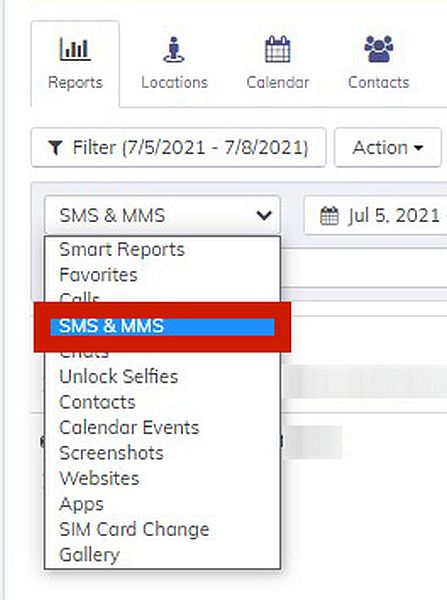 Hoverwatch Reports with the option to display SMS & MMS log highlighted