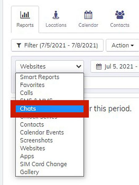 Hoverwatch Reports with the option to display Chats log highlighted