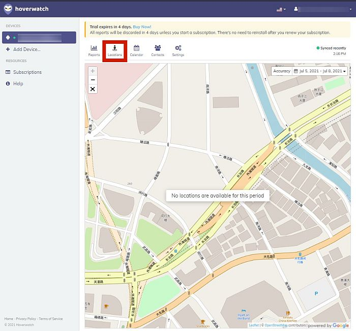 Hoverwatch location tab showing google map