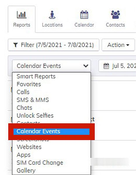 Hoverwatch Reports with the option to Calendar Events log highlighted