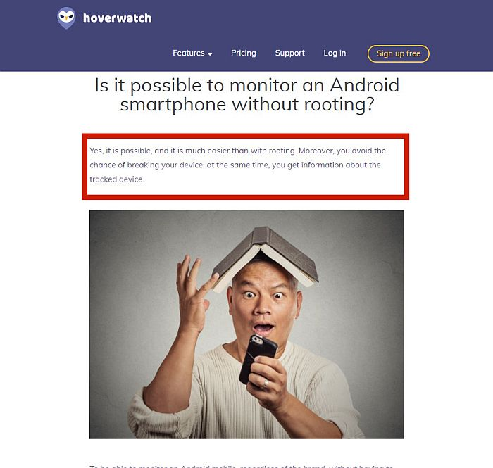 A screenshot of Hoverwatch blog