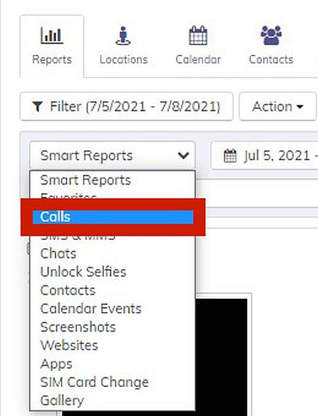 Hoverwatch Reports with the option to display Calls log highlighted