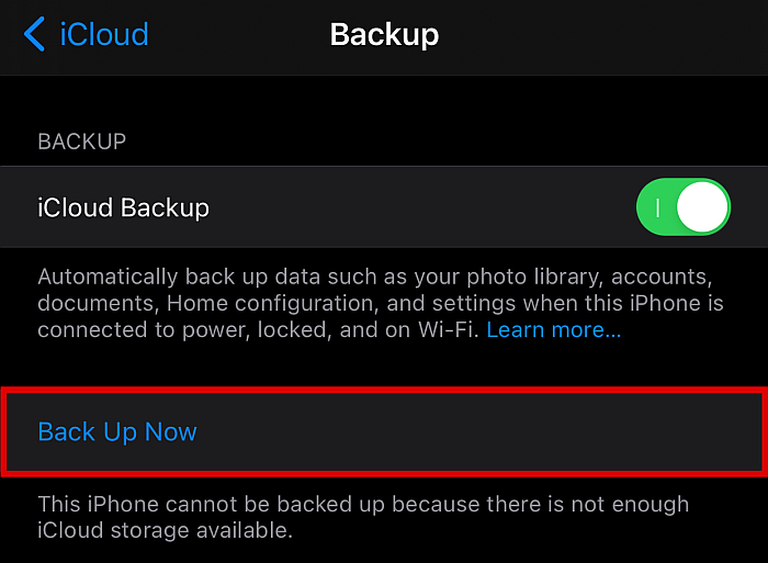 iCloud backup tab with back up now button highlighted