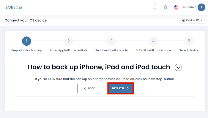 uMobix iOS device setup first page