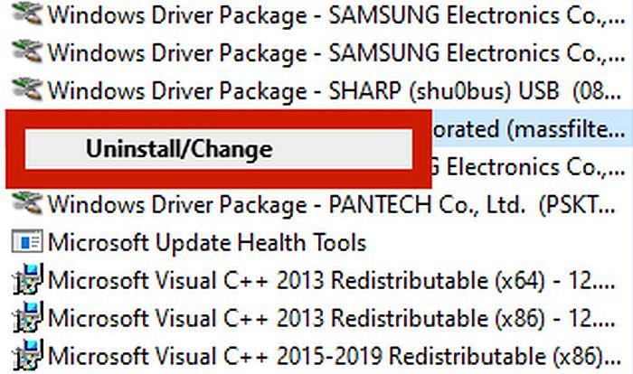 Screen capture of windows program directory with the uninstall/change option highlighted