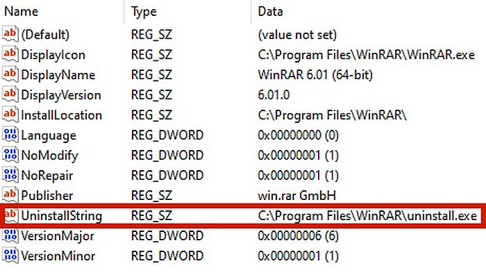 Screen capture of an app folder in registry editor with the uninstall string file highlighted