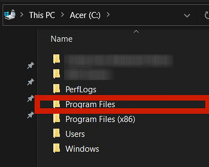 Screen capture of pc drive c window with the program files folder highlighted