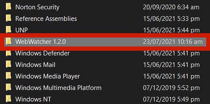 Program files folder with the webwatcher 1.2.0 folder highlighted