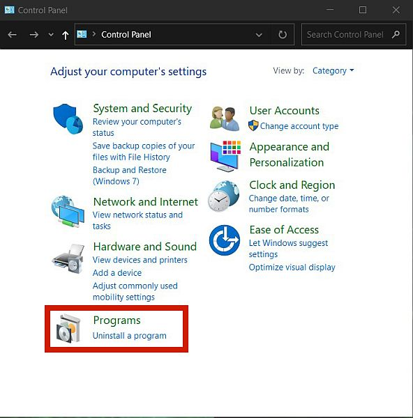 Screen capture of windows control panel with the programs option highlighted