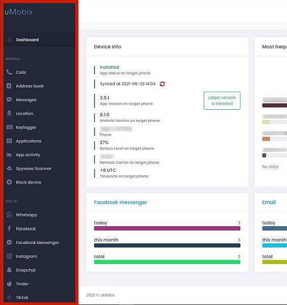 Umobix dashboard with the sidebar highlighted