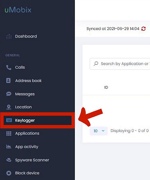 Umobix sidebar menu with keylogger feature highlighted