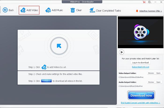 VideoProc Downloader dashboard