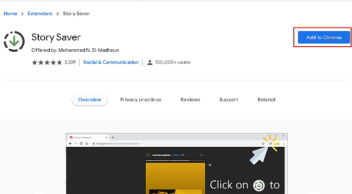Story Saver Chrome extension details page
