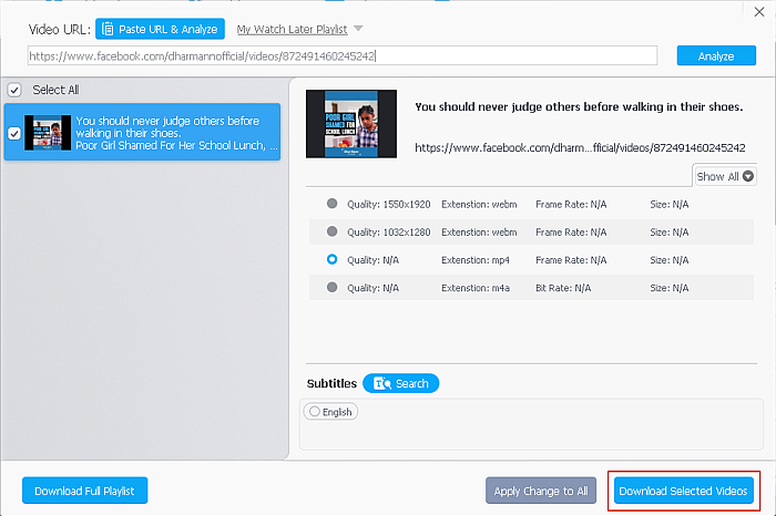 Video file Settings page in VideoProc Downloader with the Download Selected Videos button highlighted