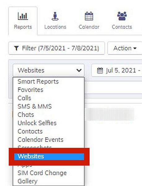 Hoverwatch Reports with the option to display Websites log highlighted