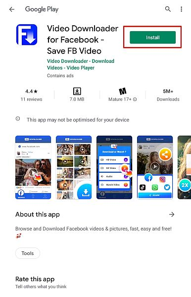 Video Downloader for Facebook app details page in Play Store with the install button highlighted