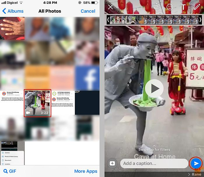 Iphone camera roll as accessed through WhatsApp and the video editing option in WhatsApp