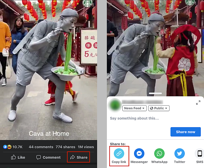 Getting the link of a Facebook video via the share button