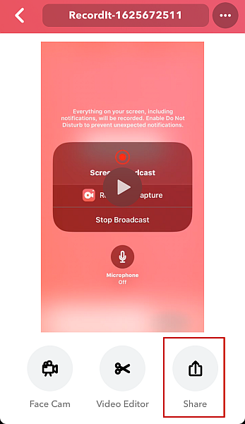 Record it! recorded video with the share button option highlighted