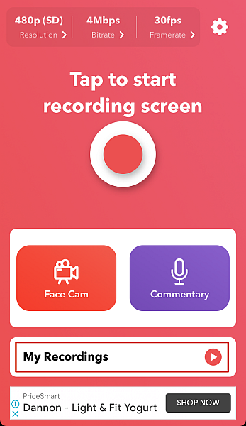 Record it! app dashboard with My Recording option highlighted