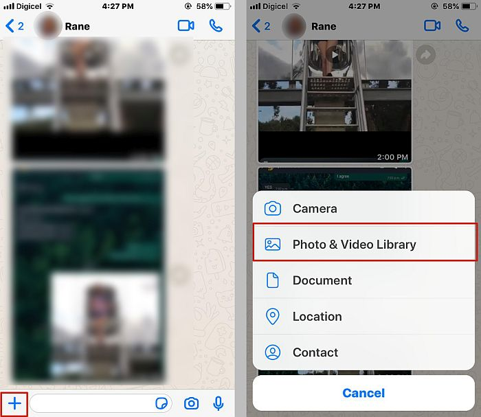 Attaching a video or photo on a whatsapp chat