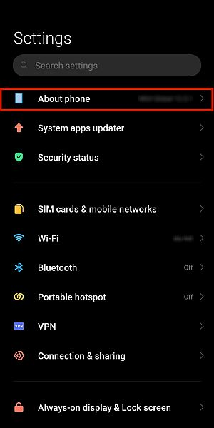 Xiaomi phone settings with the about phone option highlighted