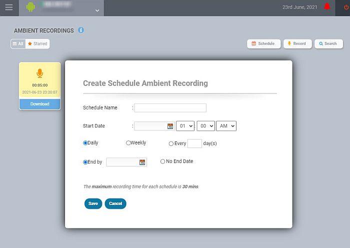 Flexspy ambient recording feature