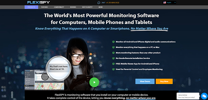 Flexispy homepage
