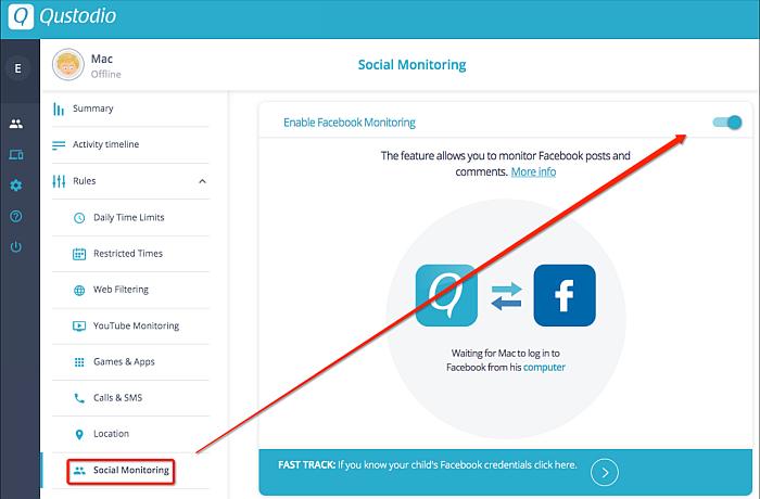 Qustodio social monitoring tab