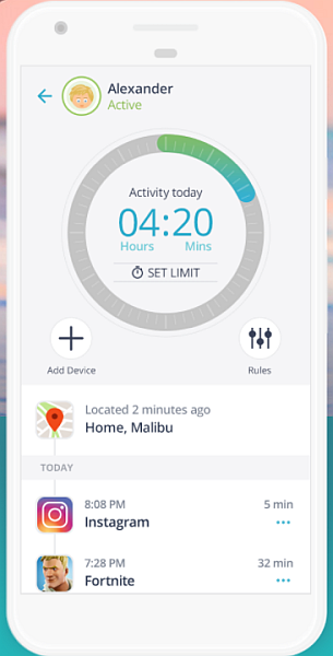 Qustodio screen time limiting feature