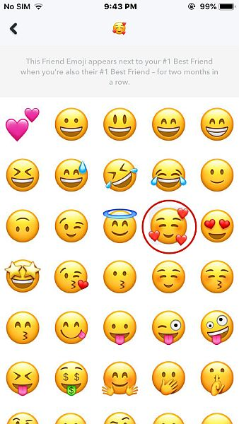 Emojis list in Snapchat for iPhone