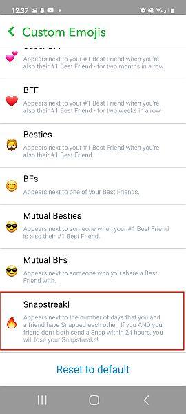 Snapchat custom emojis tab with snapstreak option highlighted