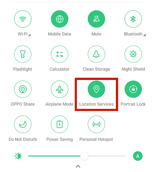 Android quick settings menu with the location services option highlighted