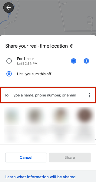 Real time location sharing options in google maps recipient field highlighted