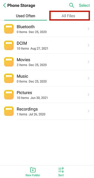 Phone storage folder with the all files tab highlighted