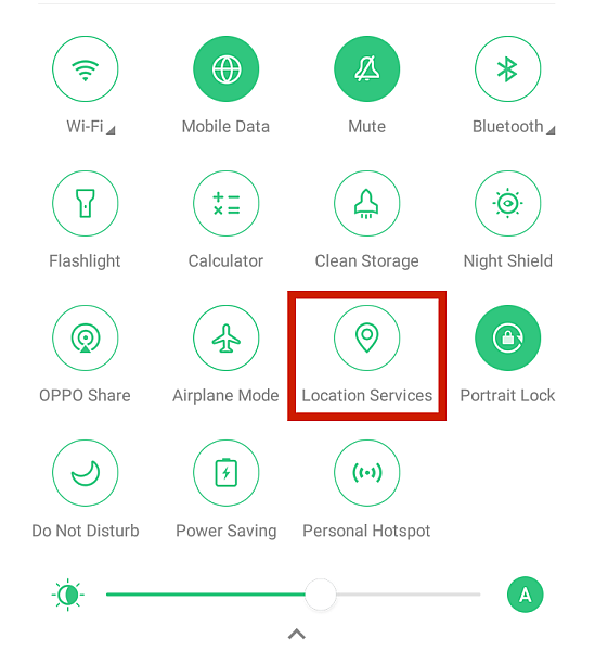 Android quick settings menu with the disable location services option highlighted