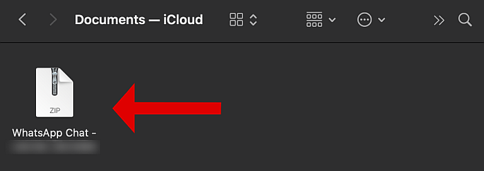 Icloud documents folder with an exported whatsapp chat zip file highlighted