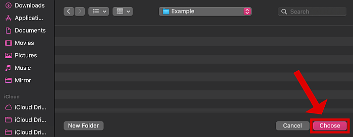 Other window in mac with the new choose button highlighted